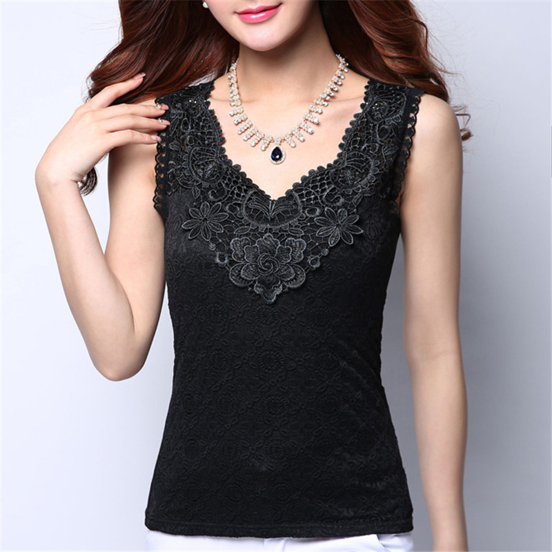 Plus Size Women Summer Sexy   Blouse     Shirt   Elegant Sleeveless V Neck White Crochet Lace   Shirt   Tank Tops Women Blusas Camisa Vest