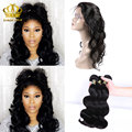 ms here hair company 360 Lace Frontal with Bundle with Baby Hair Peruvian Body Wave 360 Closure and Bundles Pre Plucked Band 4pc
