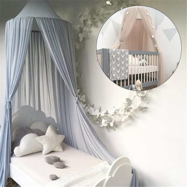 Round Bed Canopy For Girl Baby Crib Curtain Lace Tipi Tent Kids Play ...