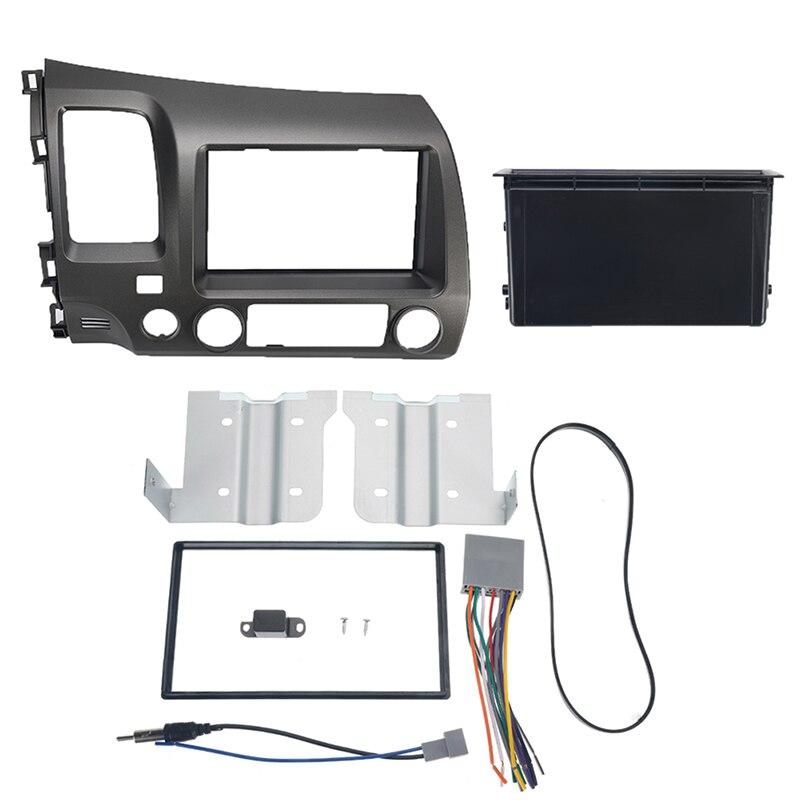 1 ensemble autoradio stéréo 2 Din Taupe Dash Kit multimédia lecteur vidéo Navigation GPS cadre Fascias pour Honda Civic 2006-2011