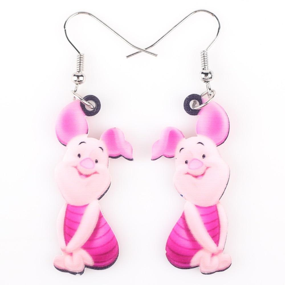 Newei Long Drop Brand Lovely Pig Earrings Acrylic New Jewelry S Women Cartoon Children Piglet