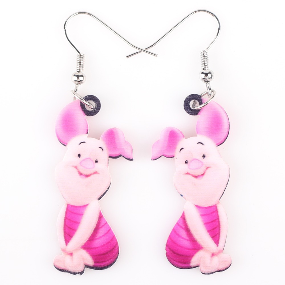 Newei длинные висячие брендовые милые серьги в виде свиньи акриловые горячие ювелирные изделия для девочек женщин Мультяшные детские серьги ...