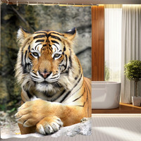 3D Oil Printing Animal Tiger Bathroom Shower Curtain Waterproof,3D Leopard Tiger Christmas Gift Bedroom Shower Curtain W180XH180