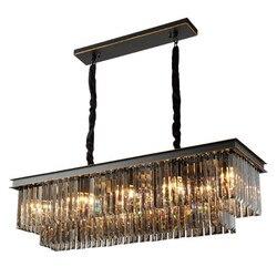 Luksus dymu K9 kryształowy żyrandol oświetlenie prostokąt nowoczesny salon lampa do jadalni dekoracji wnętrz Loft oprawy oświetleniowe