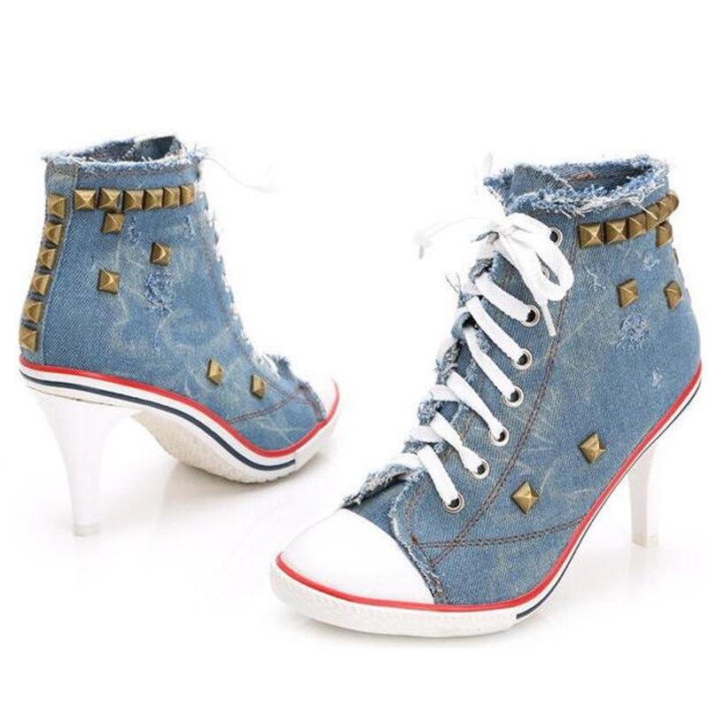 2018 femmes toile chaussures Denim talons hauts Rivets chaussures mode chaussures lacets baskets femmes bottes courtes femmes pompes
