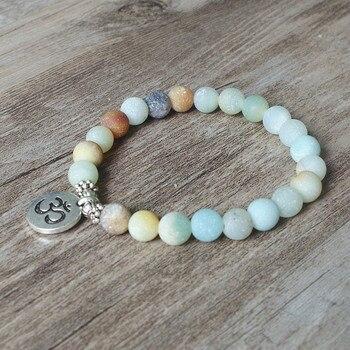 Matte Amazonite Stone Strand Bracelet Yoga Chakra Mala Bracelet OM Lotus Women Men Beaded 3
