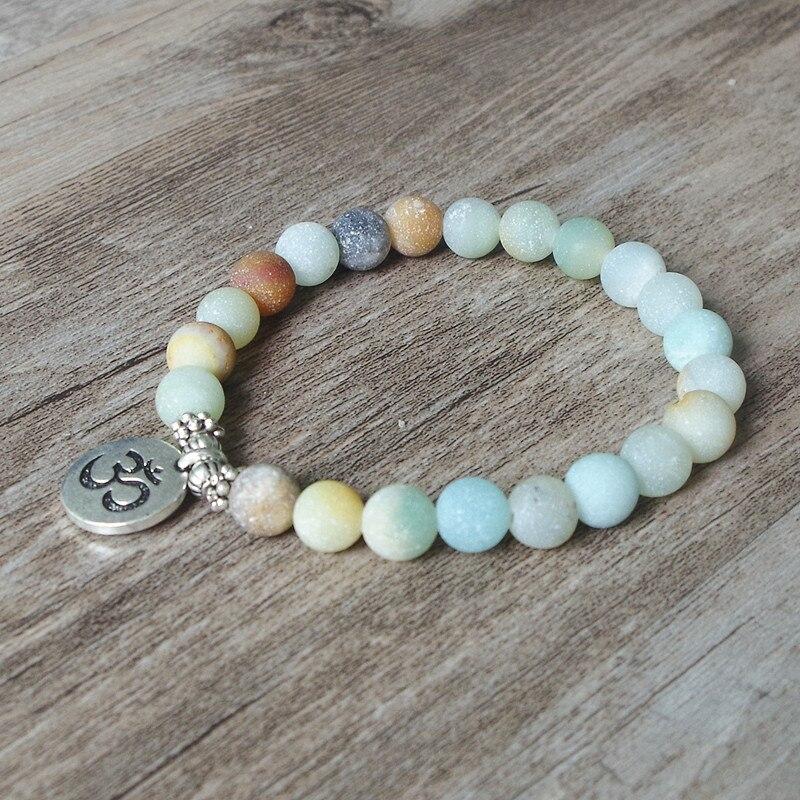 Matte Amazonite Stone Strand Bracelet Yoga Chakra Mala Bracelet OM Lotus Women Men Beaded Charm Bracelet Handmade Jewelry 3