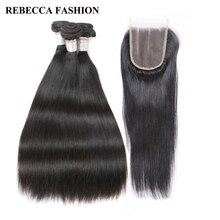 Rebecca Реми бразильские прямые волосы ткань с Накладные волосы 3 Связки Человеческие волосы утка 4×4 дюйма Синтетические волосы на кружеве 1 упак. Бесплатная доставка