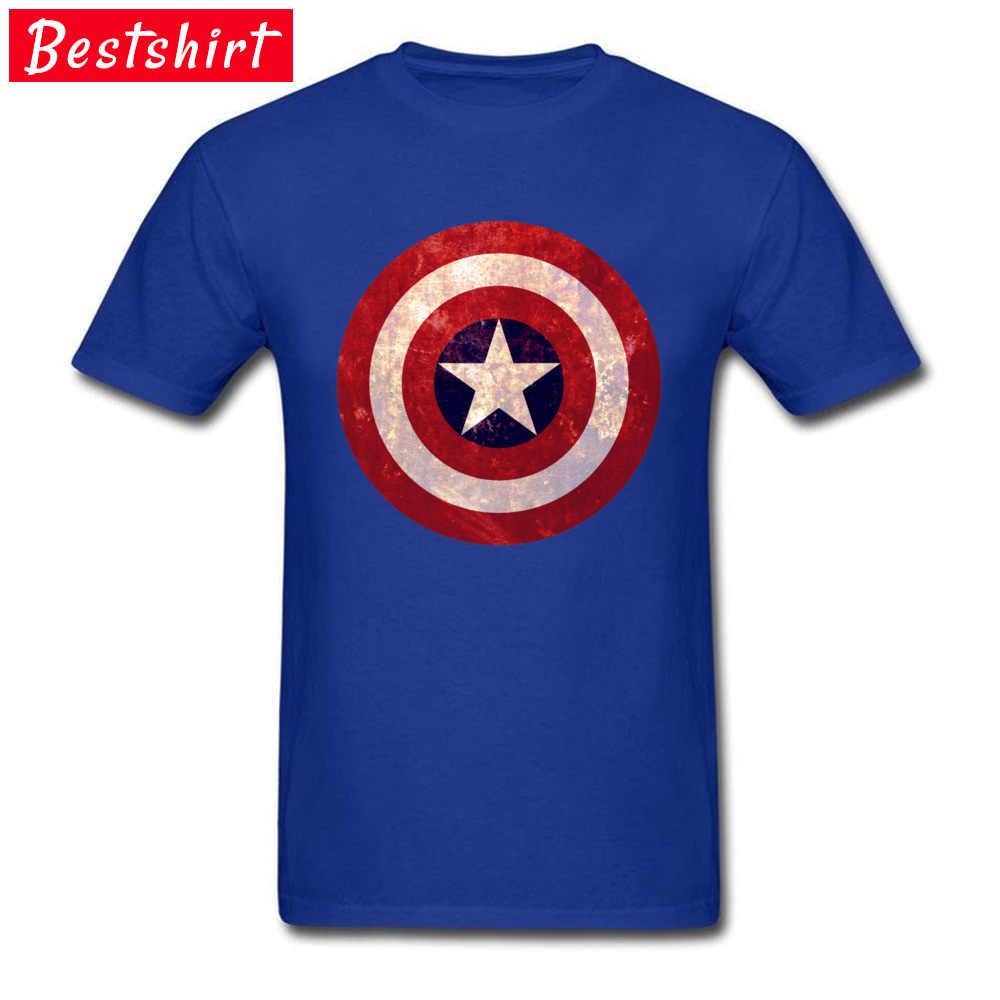 Avengers Marvel Captain America Kerajinan Kapas Murni Tshirt Pria Logo April Bodoh Hari O-Leher Top T-shirt Yg Bukan-bukan Pahlawan Tshirts