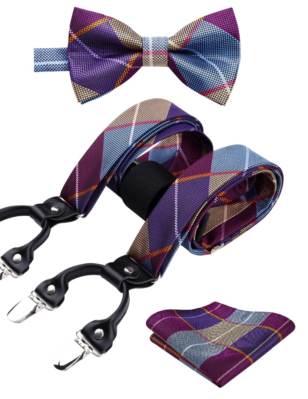 Check&plaid Various Classic Braces 6 Clips Suspenders  Self Bowtie And Pocket Square Set #S2