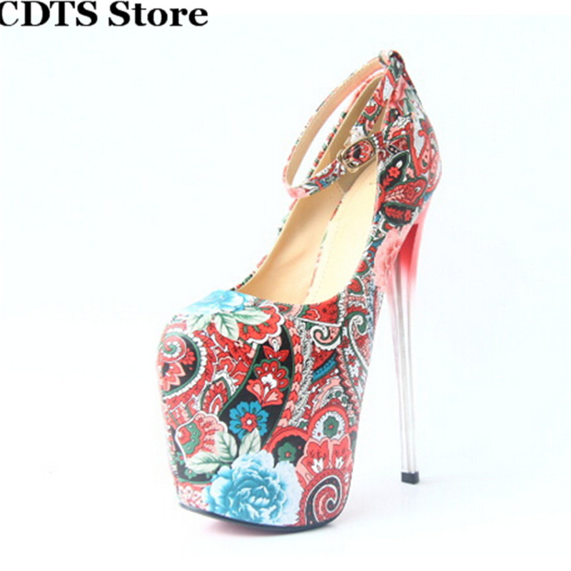 ФОТО CDTS zapatos Plus:34-43  Fashion Summer platforms Crossdresser Sandals 20cm transparent Thin heels shoes woman Round Toe pumps