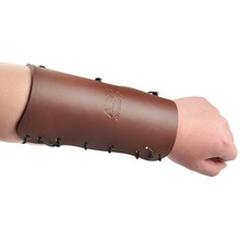 Cow Leather Brown Longbow Arm Restraint Guard Hook  and Loop For Shooting Archery Accessory