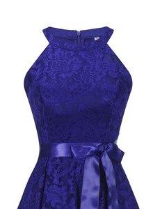 Image 4 - OML 526 # קדמי קצר ארוך בחזרה כהה כחול הלטר Bow שושבינה שמלות מסיבת חתונת שמלת נשף שמלה סיטונאי אופנה בגדים