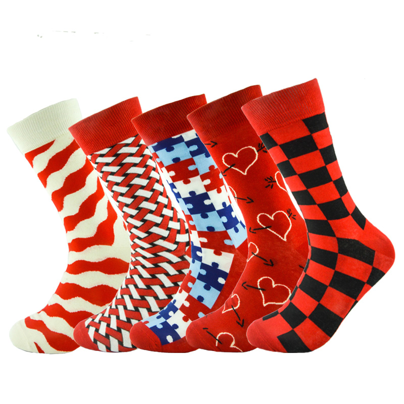 Hot 2017 fashion free shipping combed cotton brand new men socks colorful dress socks wedding sock business sock 5 pairs/Lot