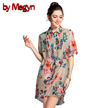 by Megyn 2017 Women Elegant Long Shirt Short Sleeve O-Neck Floral Embroidery Mini Dress Ladies Blouse Casual Tops Blusas 7A66