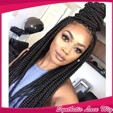 Half Handmade Braided wig Synthetic Lace Front Wig Heat Resistant Thin Micro Big Box Braids For Black Woman 150 density