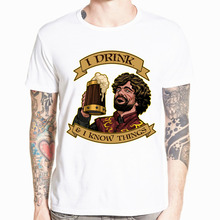 Hecoolba 2017 Men Tyrion Lannister I DRINK AND I KNOW THINGS T shirt Short Sleeve O