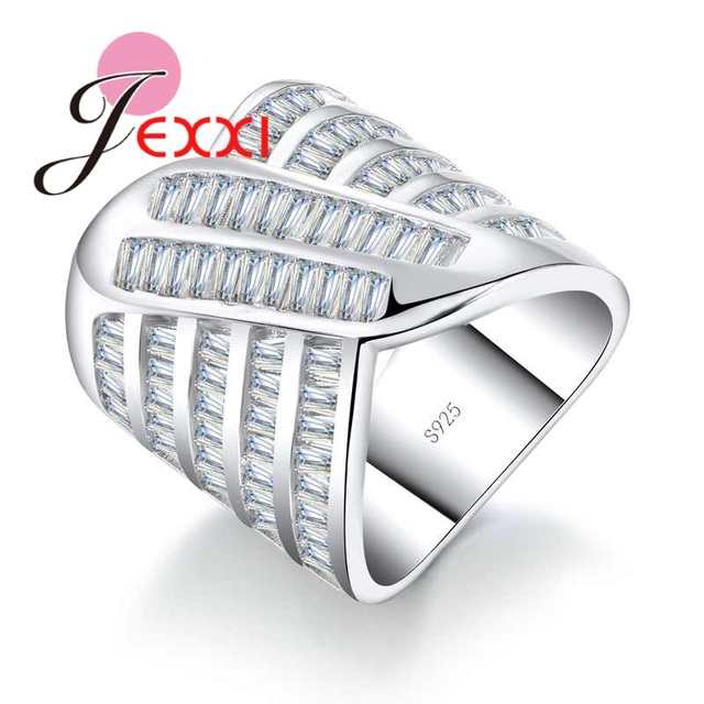 9178316b26fd JEXXI Elegant AAA+ Cubic Zirconia Wide Rings Sterling Silver 925 Finger  Jewelry for Women Wedding Party