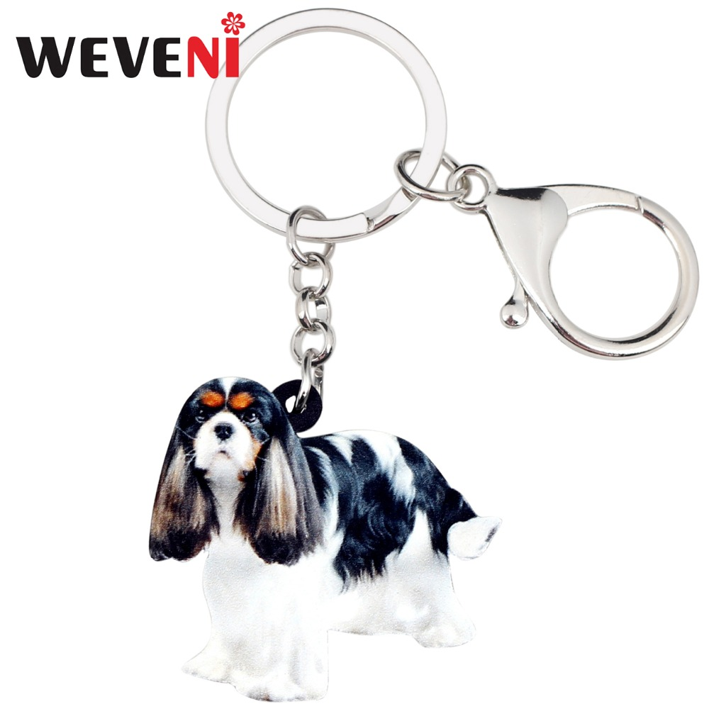 WEVENI Acrylic Cavalier King Charles Spaniel Dog Key Chains Keychains Rings Jewelry For Women Girls Gift Purse Charms Animal Hot