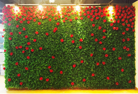 3.2M x 3M grass green with red roses wedding flower wall flower backdrop Wedding decoration