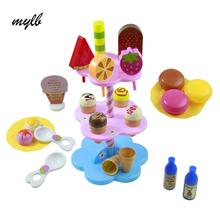 mylb 22pcs DIY Play Desserts Ice Cream 3+ Children Kids Baby Classic Toy Pretend Play Kitchen Food Sweet Treats Plastic Toy(China)