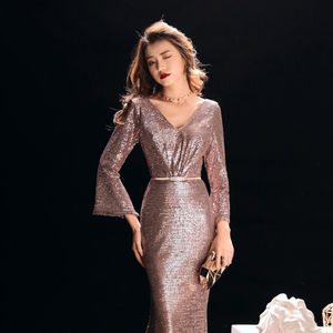 Image 5 - ללכת לידך ערב שמלות לנשים רוז זהב בת ים סקסי עמוק V צוואר נצנצים בלינג ארוך שרוולים לטאטא רכבת שמלות נשף