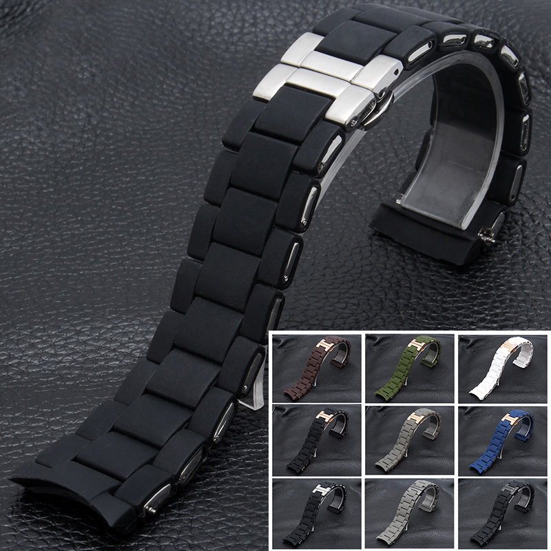 20MM 23MM Silicone Strap Rubber Clad Strap Silicone Strap For Ar5890 Ar5891 Ar5905/5906 Ar5919/5920 Couple Watch Accessories