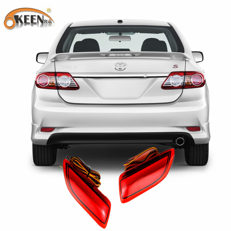 For 2011-2012 Toyota Corolla Lexus CT Parking Warning Brake Tail Lamp Red Lens Rear Bumper Reflector Light  LED Red Bulb 2pcs dongzhen fit for nissan bluebird sylphy almera led red rear bumper reflectors light night running brake warning lights lamp