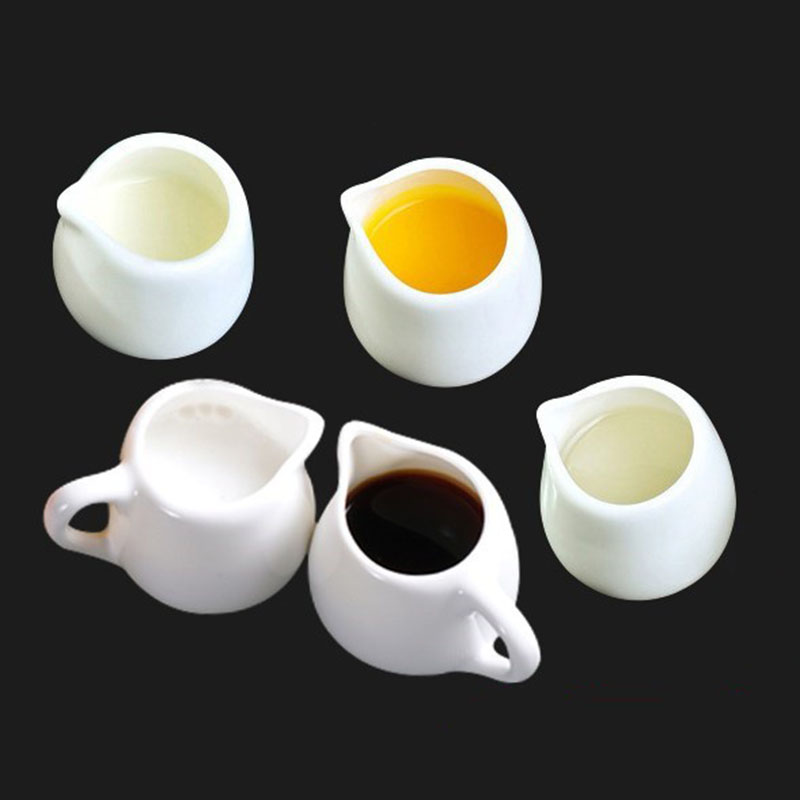 Tableware Creamer-Container-Cup Milk-Pots Sugar Kitchen-Tools Ceramics White Jar Seasoning