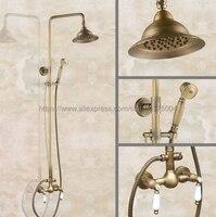Antique Brass Bathroom Rainfall Shower Faucet Set Mixer Tap With Hand Sprayer Wall Mounted Bath Shower Sets Double Handle Nan115