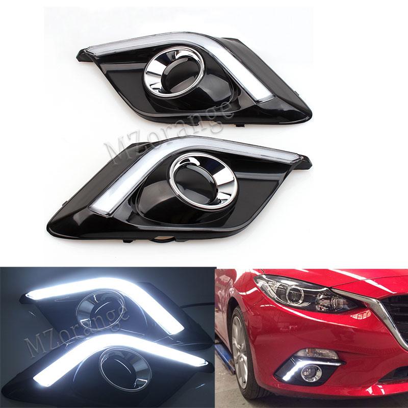 1 Pair DRL For Mazda 3 Mazda3 Axela 2014 2015 2016 Daytime Running Lights LED fog