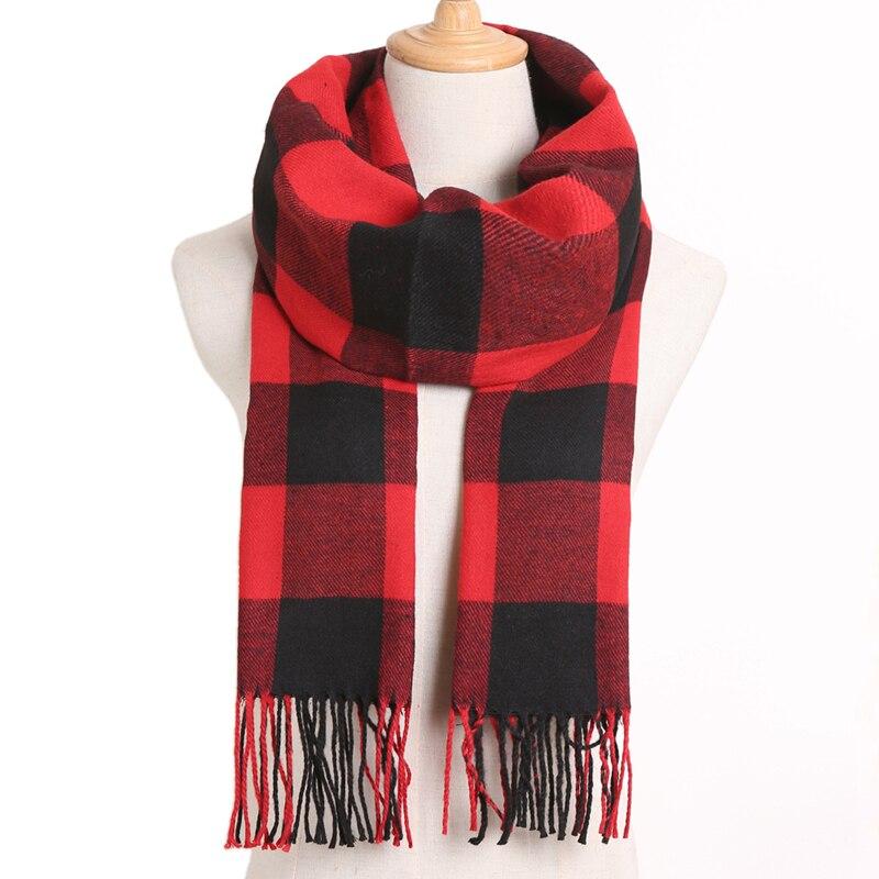 [VIANOSI] клетчатый зимний шарф женский тёплый платок одноцветные шарфы модные шарфы на каждый день кашемировые шарфы - Цвет: 10