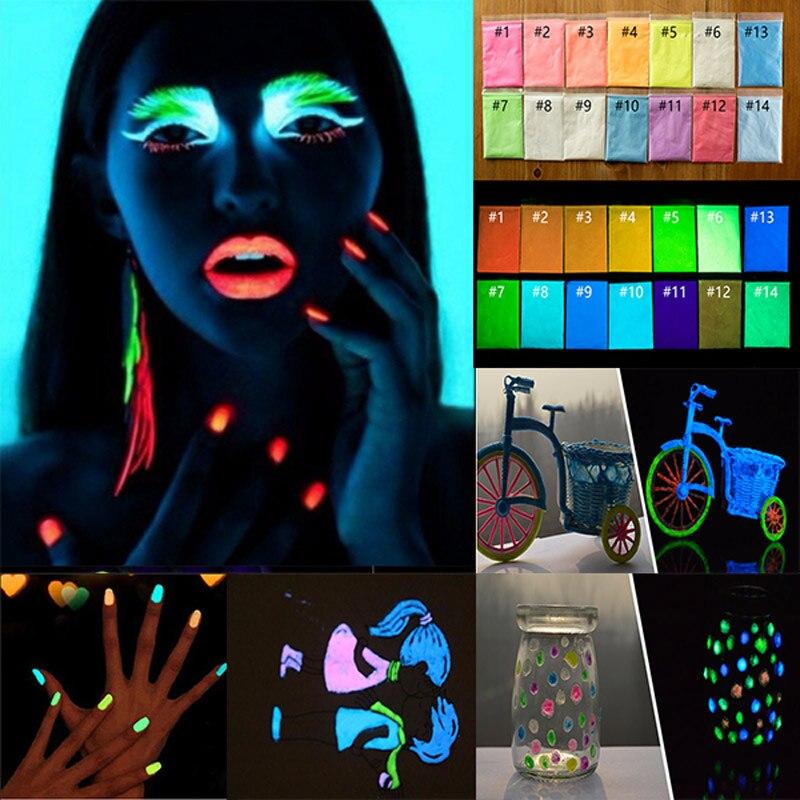Revestimento de Fósforo 10g Glitter Chrome Nail Art Poeira Brilham no Escuro Fotoluminescente Pigmento Em Pó Luminosa Fluorescente 17 Cores