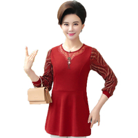 WAEOLSA Women Casual Blouses Wine Red Caramel Tops Women Peplum Blouse Lace Patchwork Tunic Lady Basic Shirt Mother Clohings 4XL