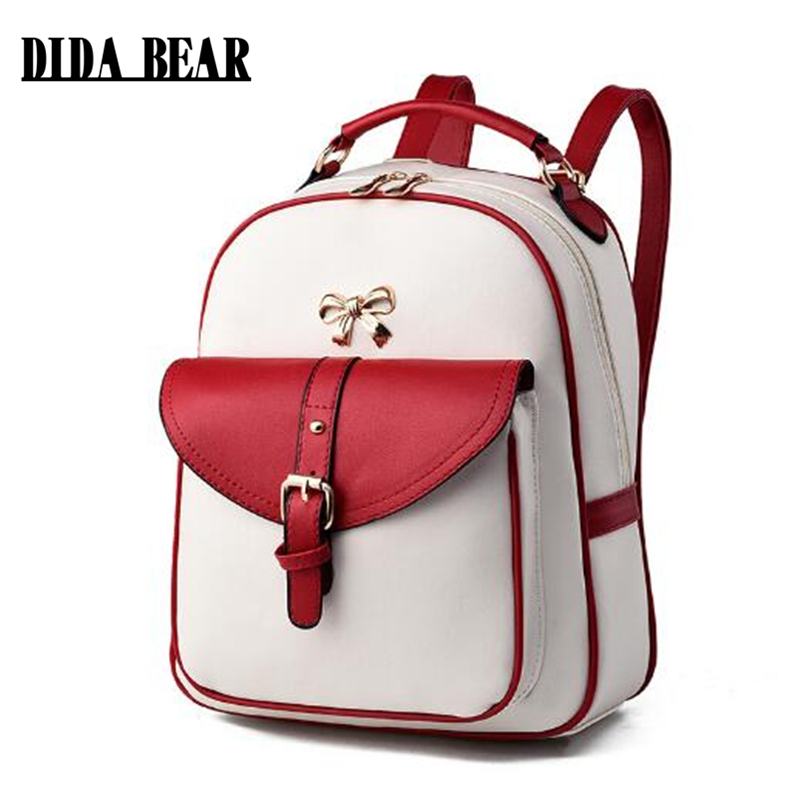 DIDA BEAR Women Leather Backpacks Bolsas Mochila Feminina Girls Large Schoolbags Travel Bag Sac A dos Black Pink Solid Patchwork  new women leather backpack black bolsas mochila feminina girl schoolbag travel bag solid candy color green pink beige