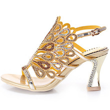 G-sparrow 2019 Summer New Ladies Elegant Rhinestone High-heeled Sandals Thick Diamond Crystal Women's Shoes 8cm