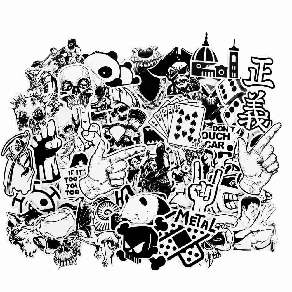 50 pcs lot black white cool stickers for skateboard luggage bicycle diy decals motorcycle laptop