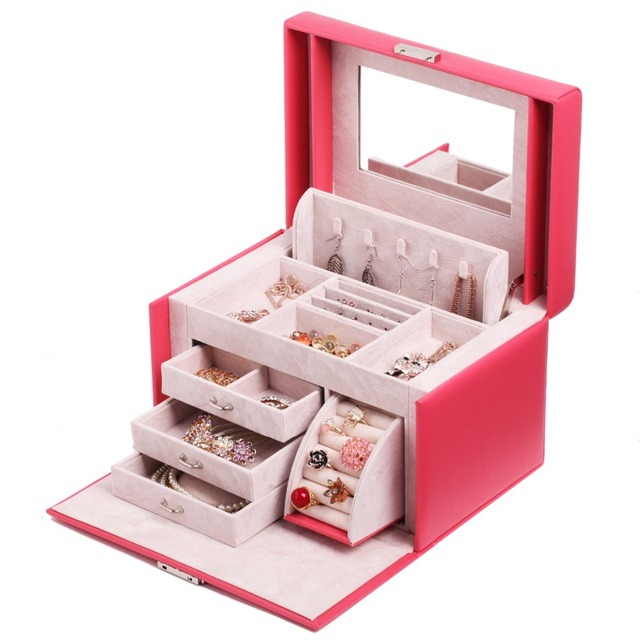 Rowling Large Mirror Jewellery Box Rings Necklaces Velvet Display