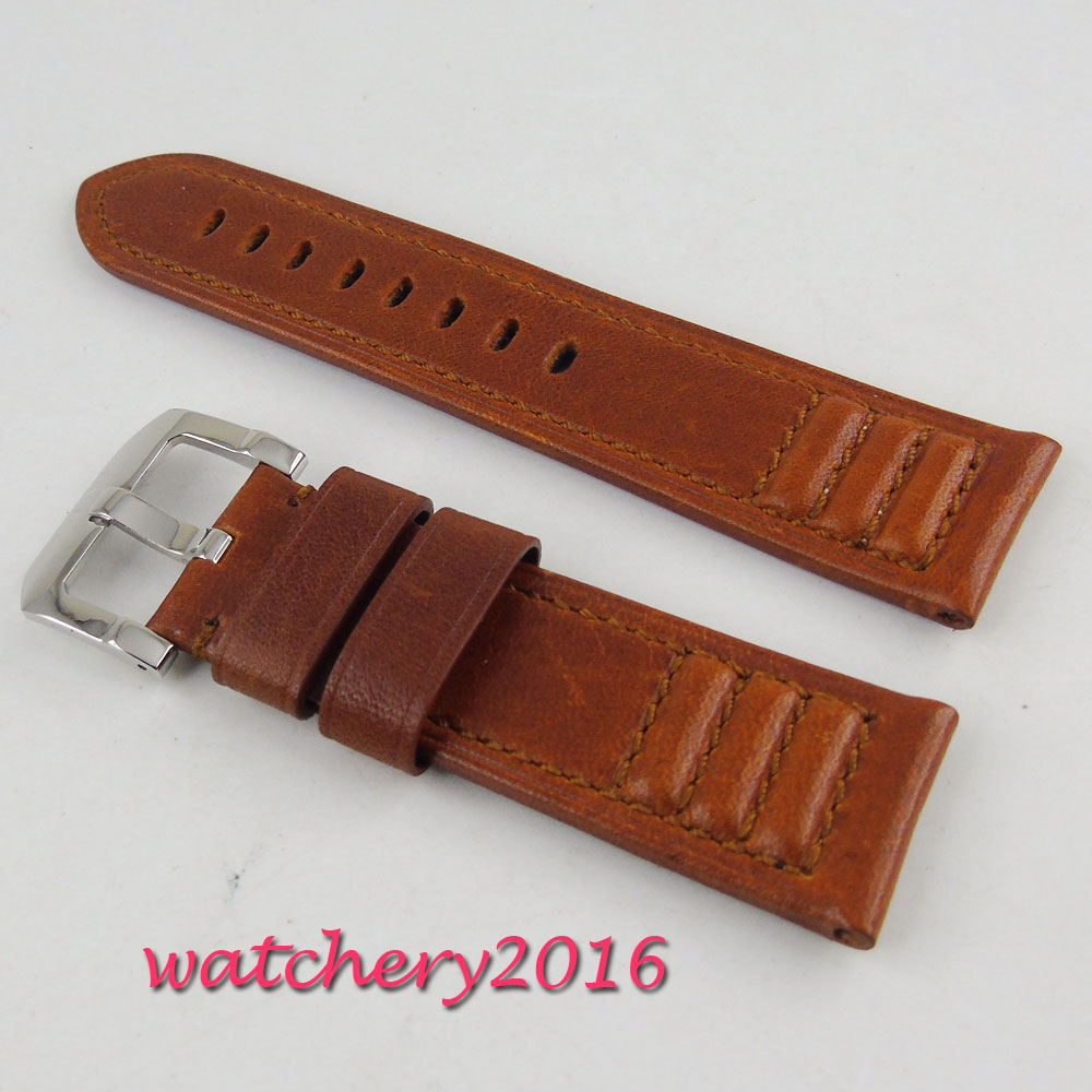 24mm brown heavy leather Genuine leather fit mens military PARNIS mens watch vietnam veteran leather mens watch