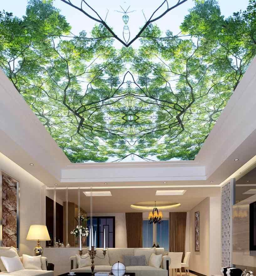 سقف ثلاثي الأبعاد للجدار سقف غرفة المعيشة بار KTV ديكور شجرة جميلة علوي السماء الزرقاء أشعة الشمس السقف ثلاثية الأبعاد جداريات حائطية خلفية