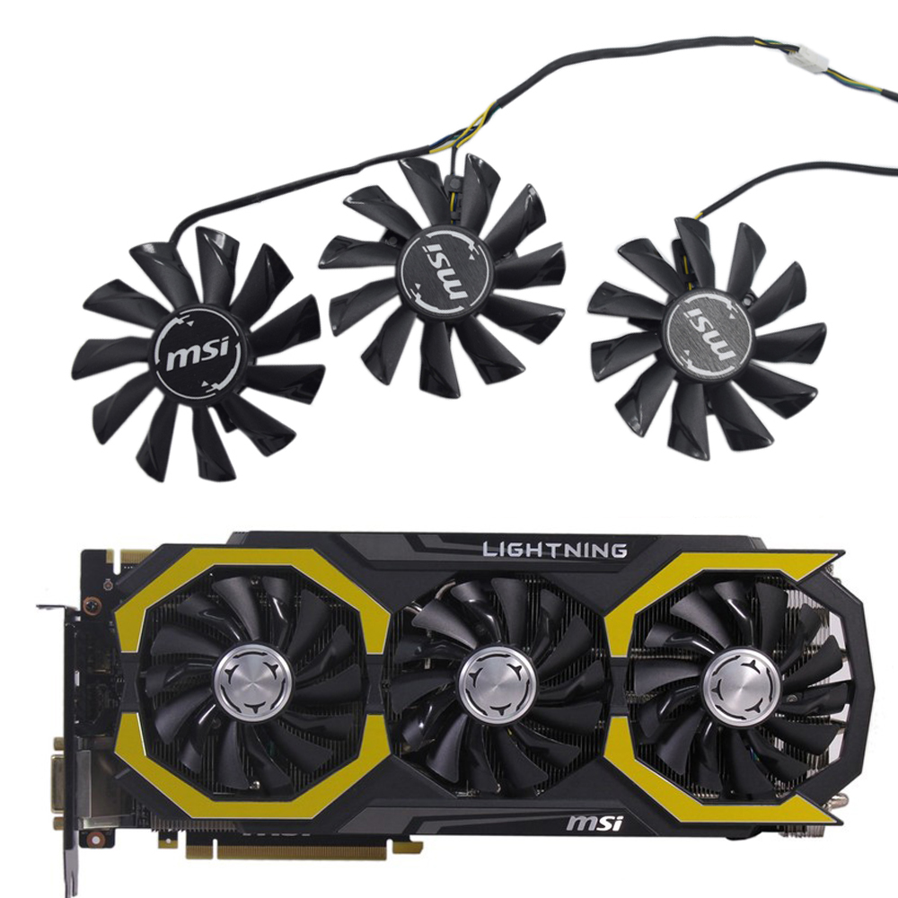 3pcs/lot PLD09210S12HH DC12V 0.40A 85mm Cooler fan Replace for MSI GeForce GTX 980Ti Lightning GTX 1080Ti 11G DUKE Video Cards image