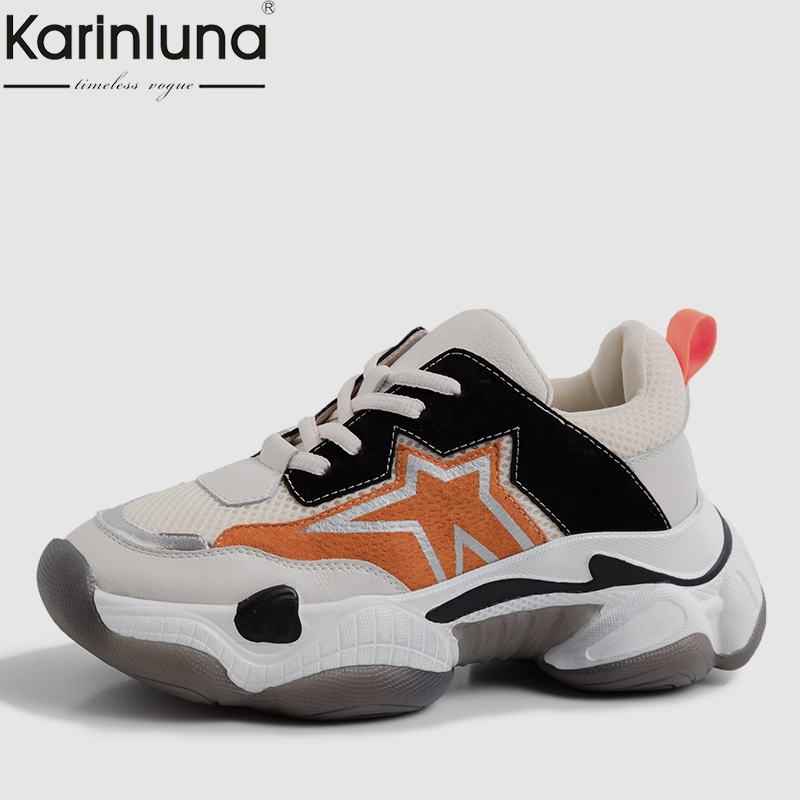 KarinLuna women's Fashion INS Whole Genuine   Leather     Suede   chunky Sneakers Women Spring Platform Shoes Woman   Leather   Women Shoes