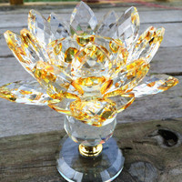 110*130mm Sparkle Golden Crystal Lotus Candlestick Glass Candle Holder Home Decoration Christmas Wedding Pary Decoration