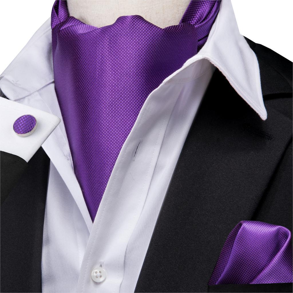 Men Silk Ascot Ties Solid Purple Cravat Formal Ties Pocket Square Cufflinks Set Gift For Father/Husband Hi-Tie AS-1001 Wholesale
