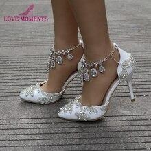 حذاء نسائي بكعب مدبب وحزام الكاحل صندل صيفي رائع مرصع بالكريستال وحجر الزفاف حذاء أم العروس مقاس 42