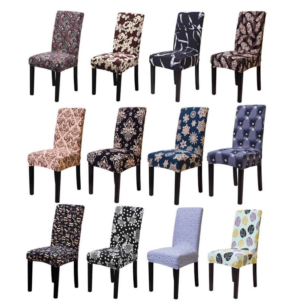 1//4//6pcs Removable Stretch Elastic Slipcovers Dining Room Stool Chair Seat Cover