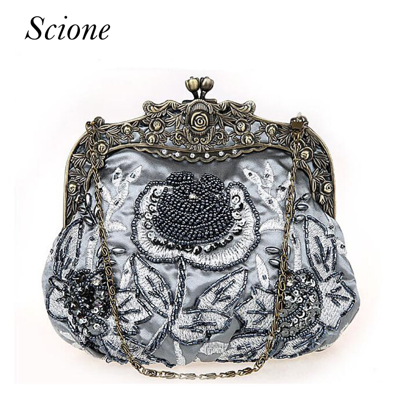 Retro 2018 Floral beaded Handbag Women Shoulder Bags Day Clutch bride Rhinestone Evening Bags for Wedding Party Clutches Purses gradual change colours full of rhinestone refinement lady for party and wedding evening clutch bags womens designers purses