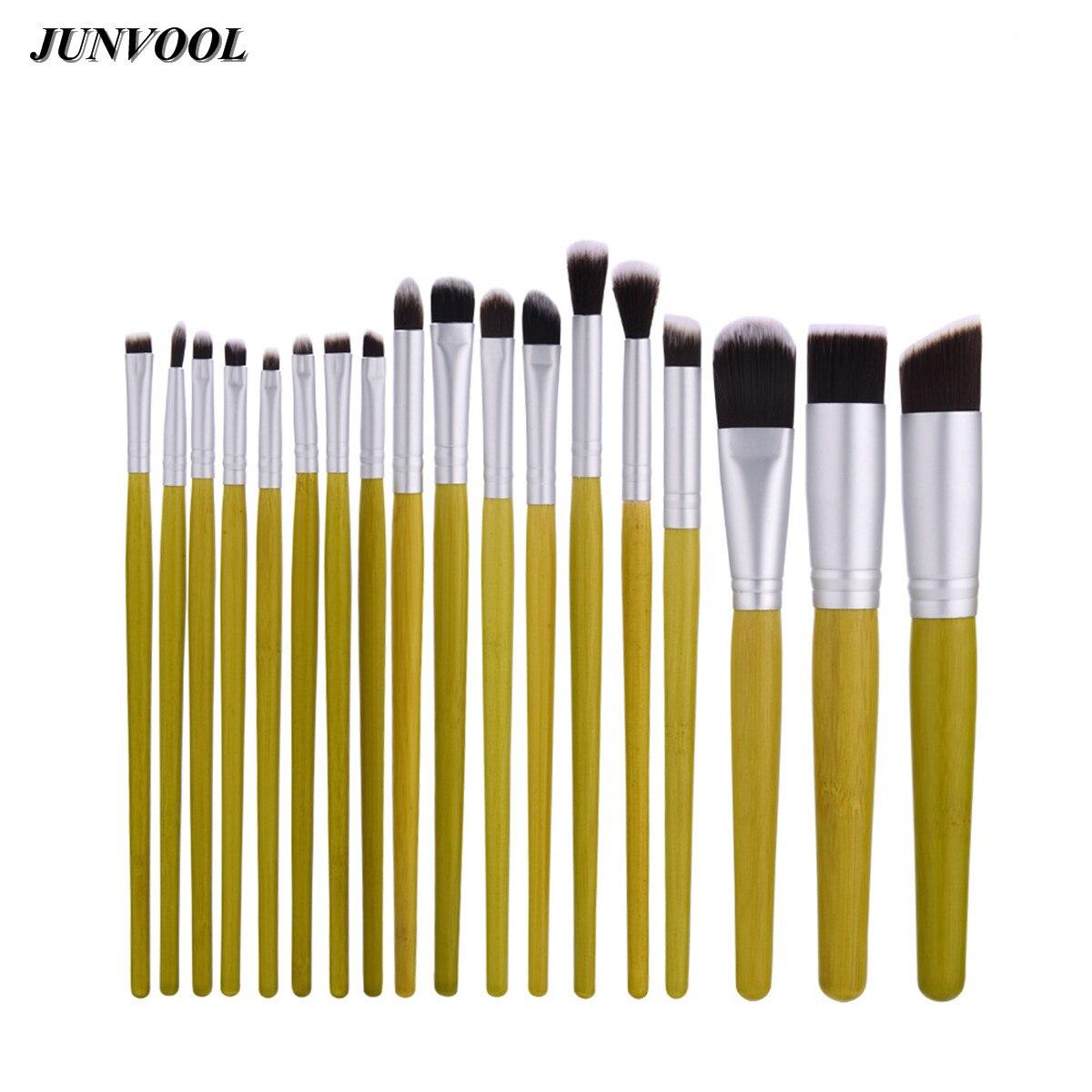 18pcs Geen Foundation Blending Brush Tools Natural Bamboo Professional Make Up Brushes Set Cosmetic Kits Makeup Set Brusher New professional bullet style cosmetic make up foundation soft brush golden white