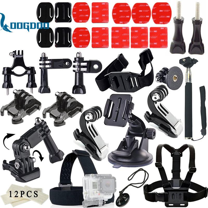 Prix pour Loogdoo pour gopro hero 5 accessoires ensemble j-crochet boucle montage approprié pour aller pro hero5 4 3 sj4000 sjcam xiaomi yi caméra TZ11