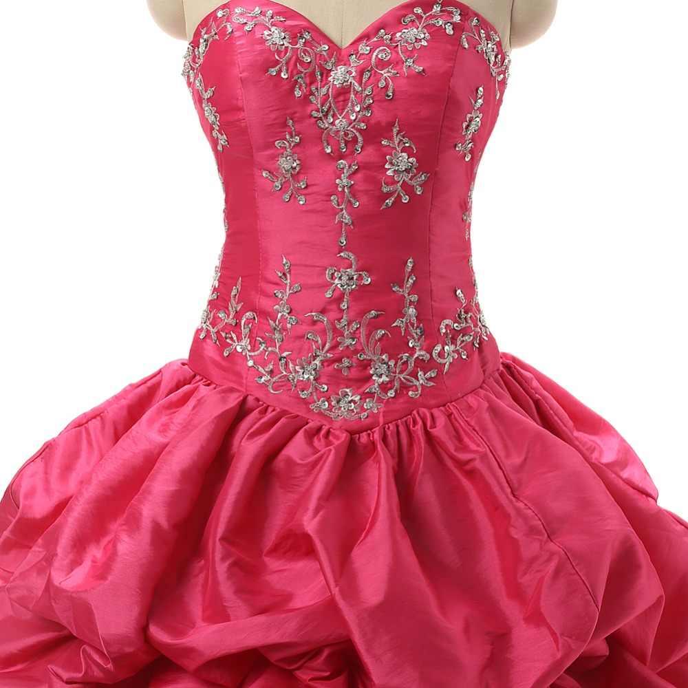 Ruthshen 16 Quente Rosa Debutante Doce Meninas Masquerade Vestidos De Baile Vestidos De 15 Anos Vestidos Quinceanera do Bordado do Sequin
